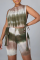 Green Casual Print Split Joint O Neck Sleeveless Two Pieces