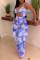 Royal Blue Fashion Sexy Print Hollowed Out Backless Swimwears Set