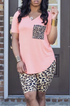 Pink Fashion Casual Leopard Printing V Neck Short Sleeve Two Pieces