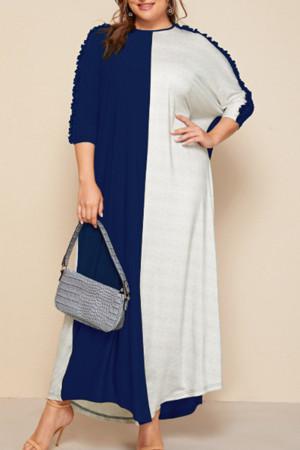 Blue White Fashion Casual Patchwork Basic O Neck Short Sleeve Dress Plus Size Dresses