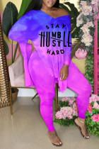 Purple Fashion Casual Gradual Change Letter Print Slit V Neck Plus Size Two Pieces