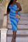 Blue Sexy Print Pants Spaghetti Strap Pencil Skirt Plus Size Dresses