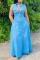 Light Blue Casual Solid Split Joint Turndown Collar Shirt Dress Dresses