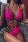 rose red Nylon Two Piece Suits Patchwork bandage Europe and America Tankinis Set