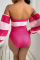 Tangerine Red Sexy Print Bandage Split Joint Swimwears