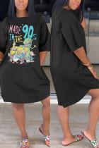 Cartoon Fashion Casual Printed Black Loose Dress