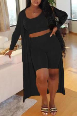Black Fashion Casual Solid Basic O Neck Plus Size Three-piece Set