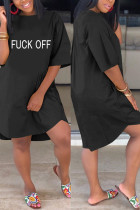 Letter Fashion Casual Printed Black Loose Dress