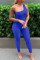 Blue Sexy Casual Solid Backless One Shoulder Skinny Jumpsuits