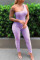 Purple Sexy Casual Solid Backless One Shoulder Skinny Jumpsuits