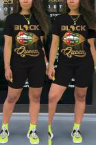 Black Fashion Letter Lips Print T-shirt Shorts Set