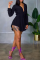 Black Sexy Solid Split Joint Turndown Collar Long Sleeve Two Pieces