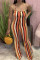 Stripe Sexy Casual Striped Print Backless O Neck Regular Jumpsuits