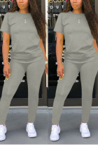 Grey Sexy Solid Regular Short Sleeve Two Pieces