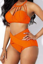 Orange Fashion Sexy Solid Hollowed Out Swimwears