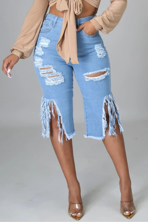 Baby Blue Fashion Casual Solid Ripped High Waist Regular Jeans