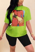 Green Fashion Casual Printed Short-sleeved T-shirt Set