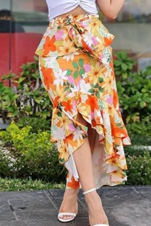 Orange Fashion Casual Print Asymmetrical Regular High Waist Skirt