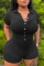 Black Casual Solid Split Joint Turndown Collar Skinny Jumpsuits