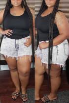 GreyWhite Fashion Casual Plus Size Denim Shorts