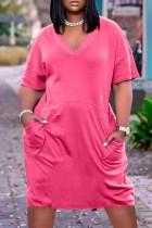 Rose Red Fashion Casual Solid Basic V Neck Short Sleeve Dress