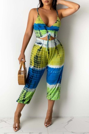 Turquoise Sexy Casual Print Tie Dye Hollowed Out Backless V Neck Regular Jumpsuits