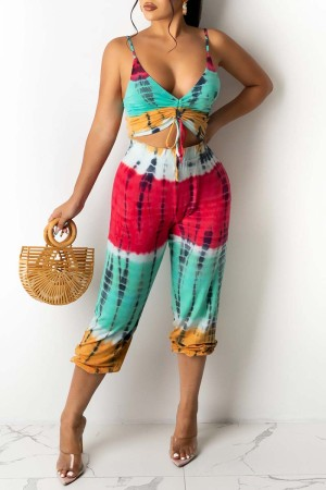 Red Blue Sexy Casual Print Tie Dye Hollowed Out Backless V Neck Regular Jumpsuits