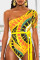 Yellow Sexy Fashion Printed One-piece Swimsuit(Without Belt)