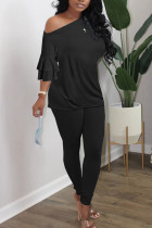 Black British Style Solid Split Joint Oblique Collar Long Sleeve Two Pieces