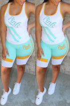 Green Sportswear Print Split Joint U Neck Sleeveless Two Pieces