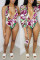 Rose Red Fashion Sexy Print Cardigan Swimwears Two-piece Set