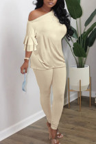 Beige British Style Solid Split Joint Oblique Collar Long Sleeve Two Pieces
