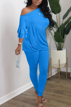 Blue British Style Solid Split Joint Oblique Collar Long Sleeve Two Pieces