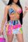 Pink Sexy Print Split Joint Swimwears