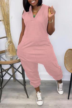 Pink Casual Solid Basic V Neck Regular Sleeveless Jumpsuits
