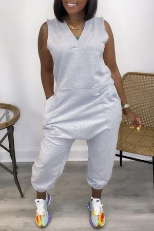 Grey Casual Solid Basic V Neck Regular Sleeveless Jumpsuits