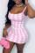Pink Fashion Sexy Print Backless fur Spaghetti Strap Sleeveless Dress