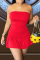Red Sexy Solid Flounce Strapless A Line Dresses