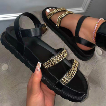 Black Casual Street Split Joint Chains Opend Out Door Shoes