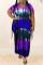 Purple Fashion Casual Plus Size Tie Dye Printing O Neck Short Sleeve Dress