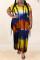 Yellow Fashion Casual Plus Size Tie Dye Printing O Neck Short Sleeve Dress