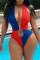 Red Fashion Sexy Patchwork Hollowed Out Backless Swimwears