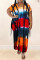 Orange Fashion Casual Plus Size Tie Dye Printing O Neck Short Sleeve Dress