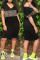 Black Fashion Casual Print Leopard Split Joint V Neck Short Sleeve Dress