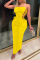 Yellow Sexy Solid Hollowed Out Strapless Pencil Skirt Dresses