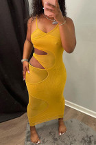 Gold Fashion Sexy Solid Hollowed Out Backless V Neck Sling Dress
