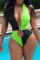Green Fashion Sexy Patchwork Hollowed Out Backless Swimwears