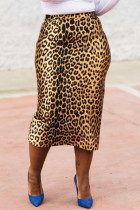 Leopard Print Fashion Casual Leopard Printing Regular High Waist Skirt