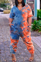 Blue Fashion Casual Print Tie-dye V Neck Loose Jumpsuits