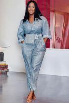 Cyanine Sexy Fashion Sequin Button Long Sleeve Turndown Collar Jumpsuits